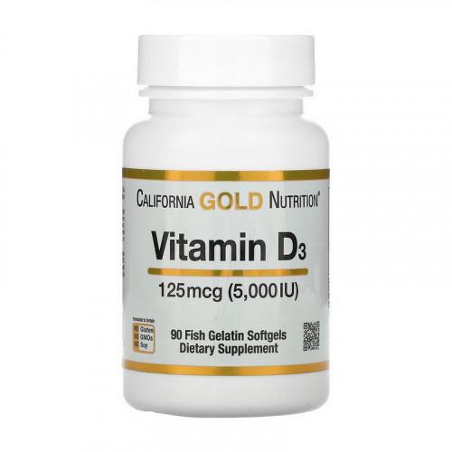 Фото California Gold Nutrition Vitamin D3 125 mcg (5,000 IU) 90 капсул