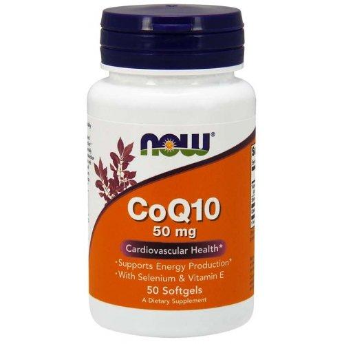 Фото Now CoQ10 50 mg 50 капсул, коэнзим с витамином е и селеном