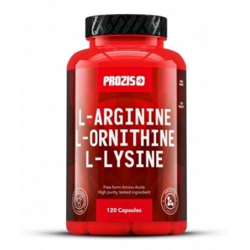 Фото Prozis L-Arginine L-Ornithine L-Lysine 120 капсул, аргинин орнитин лизин