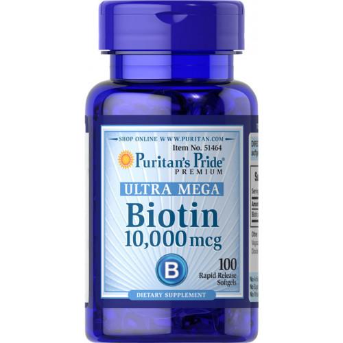 Фото Puritan's Pride Biotin 10000 mcg, витамины и минералы