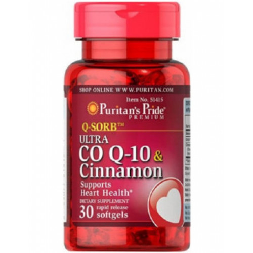 Фото Puritan's Pride Q-SORB Ultra Co Q-10 120 mg & Cinnamon, коэнзим Q-10 и экстракт корицы