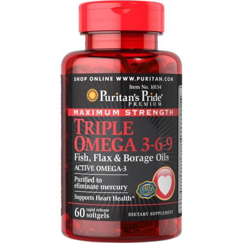 Фото Puritan's Pride Triple Omega 3 6 9, жирные кислоты